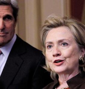 Sec. of State Kerry with former Sec. of State Clinton
